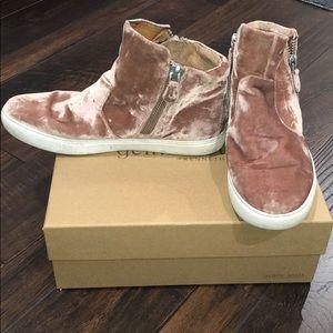 Pink Velvet Mid Top Sneakers